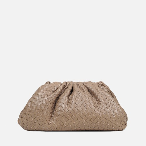 Wrinkle Clutch Bag - LIGHT BEIGE