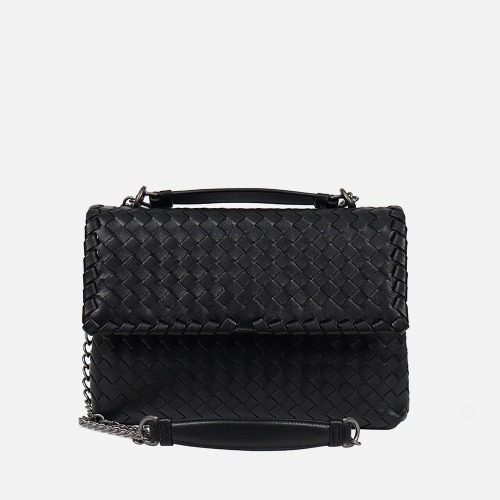 2 Chain Shoulder Bag (M) - BLACK